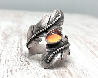 Sterling Silver Feather Ring, Amber, Feather Ring , Feather Ring with Stones, Amber Ring For Women, Size 7, Silver Feather Ring