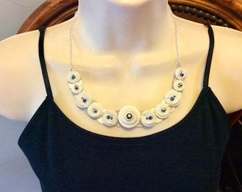 Delicate White Button Necklace
