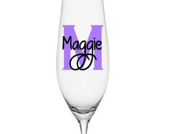 Monogram Wedding Decals, Champagne Flute Decals, Custom Wedding Champagne Flute Decals, Bridal Party Decals with Monogram/Glass NOT Included