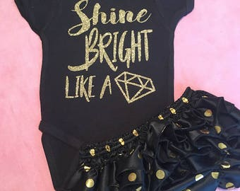 Shine Bright Like A Diamond One Piece/Bodysuit/Creeper (Custom Text Colors Available)