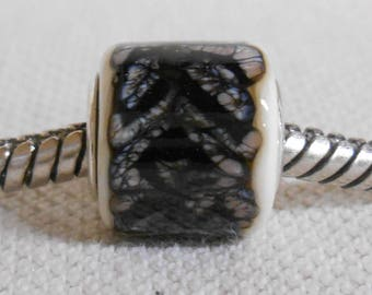 Handmade Lampwork Large Hole Bead Silver Cored Cylinder Ivory with Black Lace Design