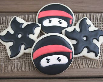 Ninja Sugar Cookies / Ninja Party Favors / Ninja Star Sugar Cookies / Karate Party Favors / Ninja Decor / Ninja Warrior Party Favors