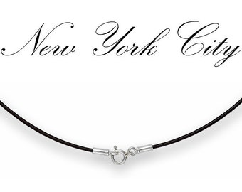 """1mm Black Leather Cord Necklace Silver Clasp 14"""" - 36"""" inches N1BLKOO_SS"""