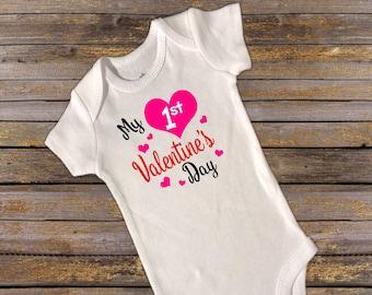 My first Valentine's Day Onesie. first valentines day. onesie. valentines day. valentines onesie. 1st valentines day. baby girl onesie.