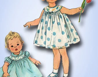 1950s Vintage Simplicity Sewing Pattern 2947 Baby Girls Sun Dress Size 6 months