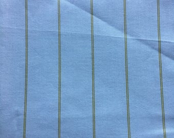 Vintage Robins Egg Blue Cotton Shirting Fabric with Green Pinstripes // 138x38""