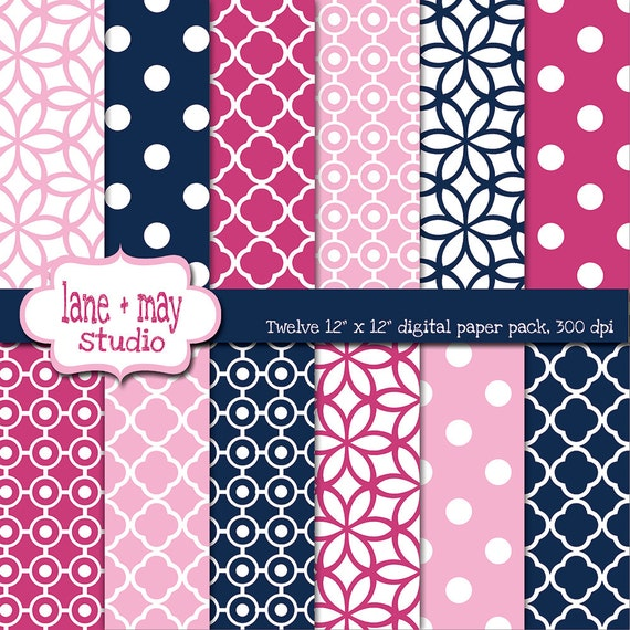Digital Scrapbook Papers Pink And Navy Blue Patterns