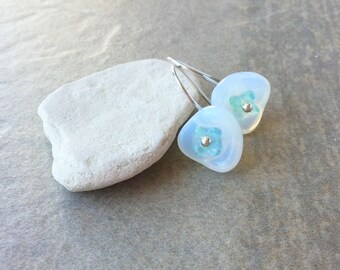 Glass Flower Earrings, Sterling Silver Earrings - On Sale