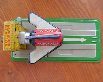 Vintage Line Mar Metal Toy  Launch Pad and Base of Rocket