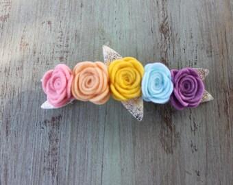 Rainbow Rosette Felt Flower Crown