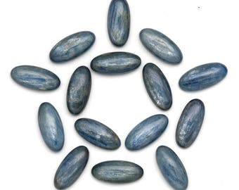 Oval Kyanite Cabochons 8mm x 18mm Blue Kyanite Cabochons | Oblong Kyanite Cabochons | Blue Brazilian Kyanite Cabochons