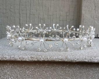 Romantic Pearl Full Round Tiara Bun Wrap Swarovski Crystal Rhinestone Bridal Wedding Bride Prom Headband Hair Jewelry Accessory Jewellery