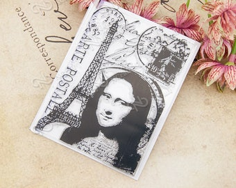 Tower Portrait Clear Rubber Stamp w/ Mona Lisa, Eiffel Tower, cancellation, Paris, France, stamp, collage,  transparent silicone stamp