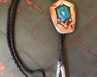 Vintage Navajo Sterling Bolo Tie Turquoise and Coral, Bennet Bolo Tie,1960s 1970s Bolo,Native American Southwestern Bolo Tie,Southwest Style