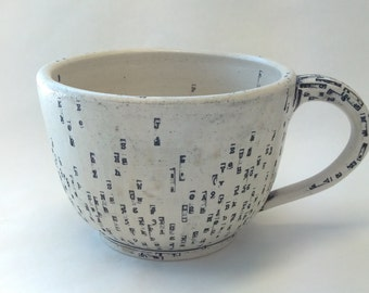 Large Typewriter Key Noodle Mug