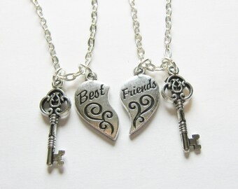 2 Heart Best Friends Are The Key To My Heart Best Friends BFF Necklaces