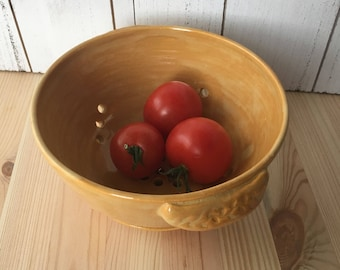 Ceramic Berry Bowl, Pottery Colander, Ceramic Strainer, Yellow Pottery Strainer Handmade Pottery Gifts for the Cook,  Pottery Berry Bowl