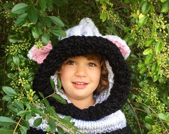 Knit animal hood, child's hood, woodland hooded cowl, knit animal hat, cat winter hood, cowl, winter hat, cat, mouse