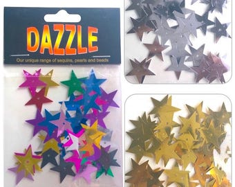 Dazzle Star Sequin Spangles 20mm - 50 pcs