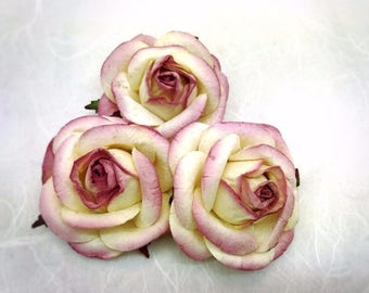 5 pcs. 50mm/2 inches large ivory dusty mauve mulberry roses - paper flowers#506
