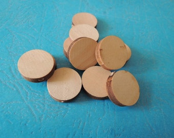 25 Pcs 18mm Natural Wood Circles Wooden discs Unfinished round disk  Bead  (W421)