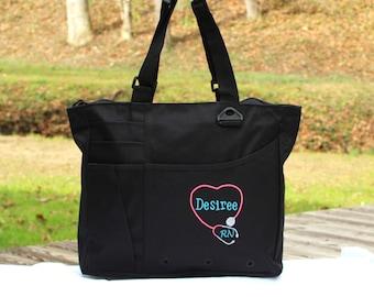 Custom Nurse Bag with Stethoscope Nursing RN LPN CNA Tote Bag Gift Sister Personalized Custom Monogram