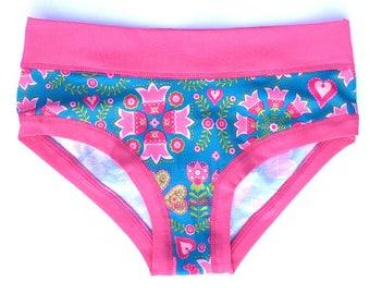Organic cotton ladies panties - no-rubber panties - Turquais Folk