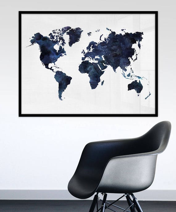 Blue world map printable watercolour world map print navy blue world map printable watercolour world map print navy blue print art blue world map print map of the world digital map print publicscrutiny Images
