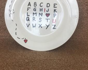Alphabet, I love you plate