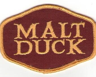 Malt Duck Beer Malt Liquor Alcohol Burgundy Gold Old School Patch - Vintage