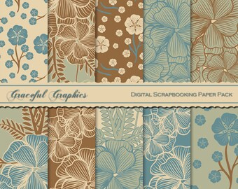 Scrapbook Paper Pack Digital Scrapbooking Background PapersFLOWERS Floral Teal Moss Green Beige Brown 10  8.5 x 11 1256gg
