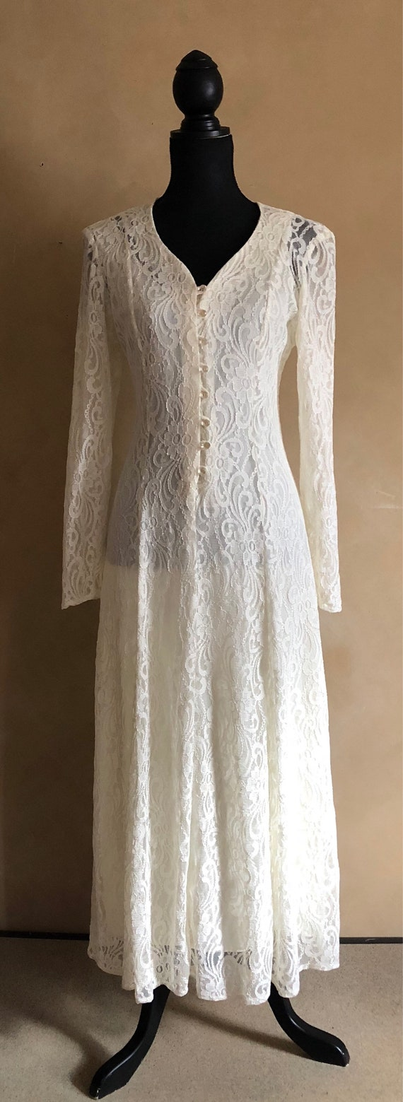 Vintage 70's Romantic Lace Dress with lace up back