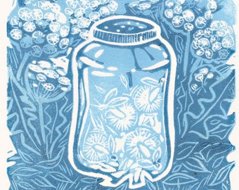 FIREFLIES - Hand Pulled Linocut Printmaking of fireflies in a jar in the summer at night in blue