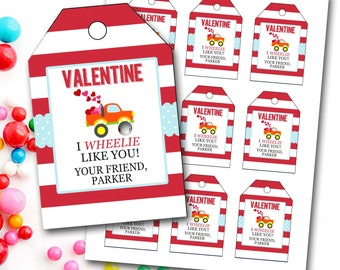 Valentine's Day Tag, Boy Valentine's Day Tag, Truck Valentine's Tag, Personalized Valentine's Tag, Party Favor Tags, DIY Printable