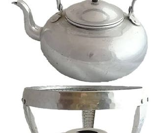 Vintage SILVER Teapot with Warming Stand |  Tea Kettle Viking British Colony Hong Kong Hammered Aluminum