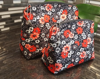 Vintage Inspired Floral Make-Up Bag / Vanity Bag / Cosmetic Bag: Medium and Large Size