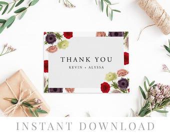 Printable Thank You Card INSTANT DOWNLOAD, Wedding Favor Card, DIY Printable Decorations, Templett, Editable pdf, Burgundy, Grace
