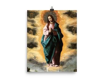 Catholic Poster - The Immaculate Conception - Francisco de Zurbarán - religious wall art - Virgin Mary wall art