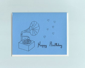 Happy Birthday gramophone card by Michelle Lin and Pauline Rousseau