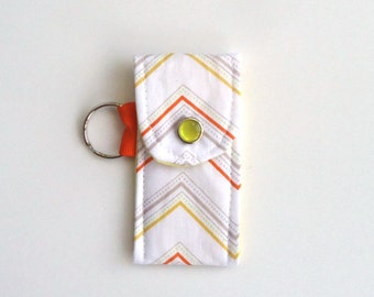 Lip Balm Holder in Chevron, Lip Balm Case, Yellow, Orange, Gray and White, spring gift for her under 10 dollars, treat yourself