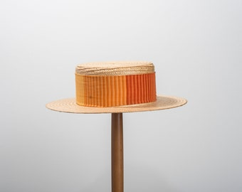 Vintage Straw Boater Hat with Orange Band, 1970's Hat, True Vintage Hat, Sun Hat, Summer Hat, Men's, Boat Hat, Punting Hat
