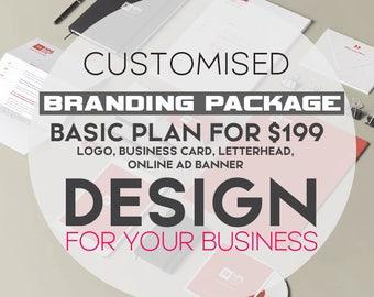 Branding Package - full custom branding kit, logo design, logo designer, facebook banner, twitter banner, business card