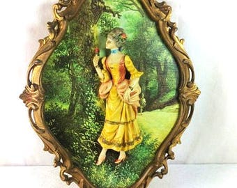 Italian Frame With Wall Figurine Rococo Style Frame Vintage Made In Italy Frame Victorian Lady