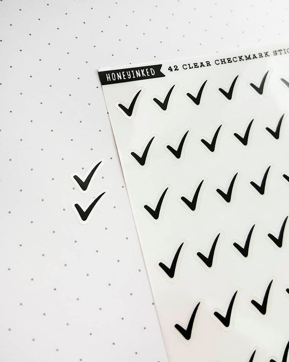 42 clear checkmark black planner stickers on our mini sheets black stickers clear stickers checkmark stickers todo stickers