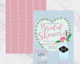 Bridal Shower Invitation -  Mason Jar - Chalkboard -Watercolor Flowers - Printable or Printed