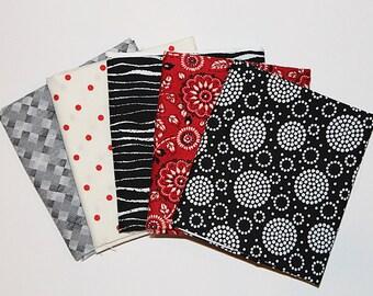 Cotton Fat Quarter Bundle, Classic Red & Black Assortment, Fabric Destash, 5 Pc Bundle