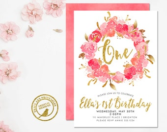 Floral 1st Birthday Invitation, Girl Birthday Invitation, Flower Birthday Invitation,  First Birthday, Printable, Digital, Faux glitter 1542