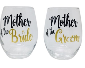Mother of the Bride Wine Glass , Mother of the Groom Wine Glass, Personalized Stemless Wine Glasses, Wedding Glass, Custom Glass