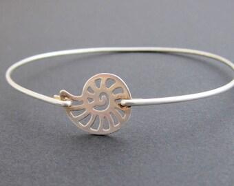 Nautilus Shell Bracelet, Shell Bangle, Shell Jewelry, Ammonite Jewelry, Ammonite Bracelet Seashell Jewelry Sterling Silver Seashell Bracelet