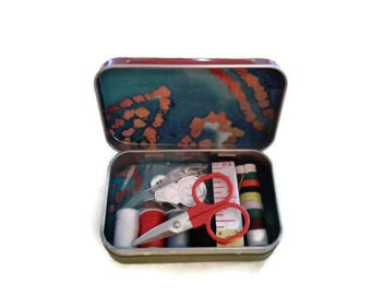 Travel Sewing Kit, Mini Sewing Kit For Kids & Adults, DIY Metal Storage, Upcycled Recycled Repurposed, Fabric Covered Gift Tins